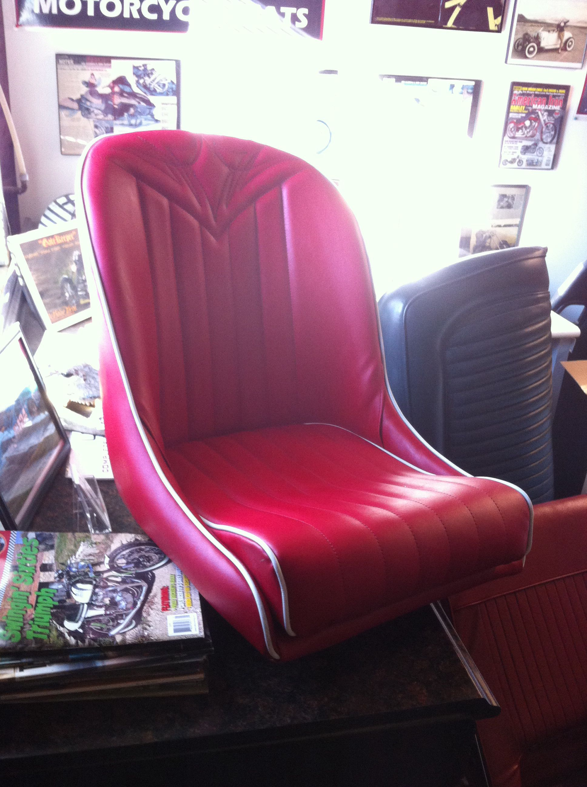 Custom Low Back Bucket Seat Red With White Welt Hot Rod Stitch