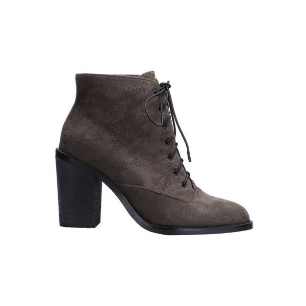 SheIn(sheinside) Army Green Lace Up High Heeled Boots (240 ARS) ❤ liked on Polyvore featuring shoes, boots, green, chunky-heel boots, army green boots, high heel boots, round toe boots and green military boots