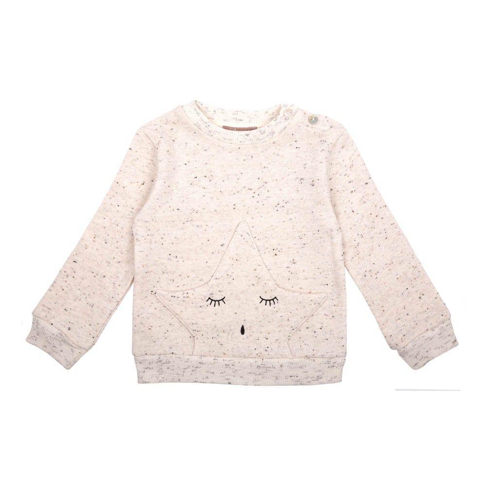 Sweatshirt mit Sternen-Tasche Grau Meliert Emile et Ida - Kindermode - Smallable