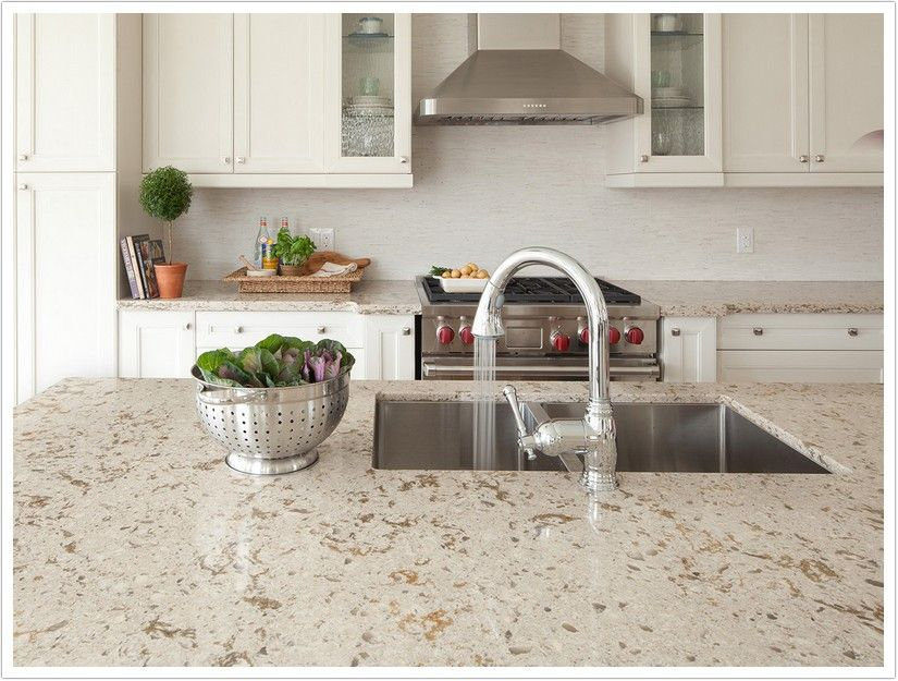 Glitter Veins Of Quartz With Large Stone Slabs : Windermere quartz by cambria is made up of a beige base