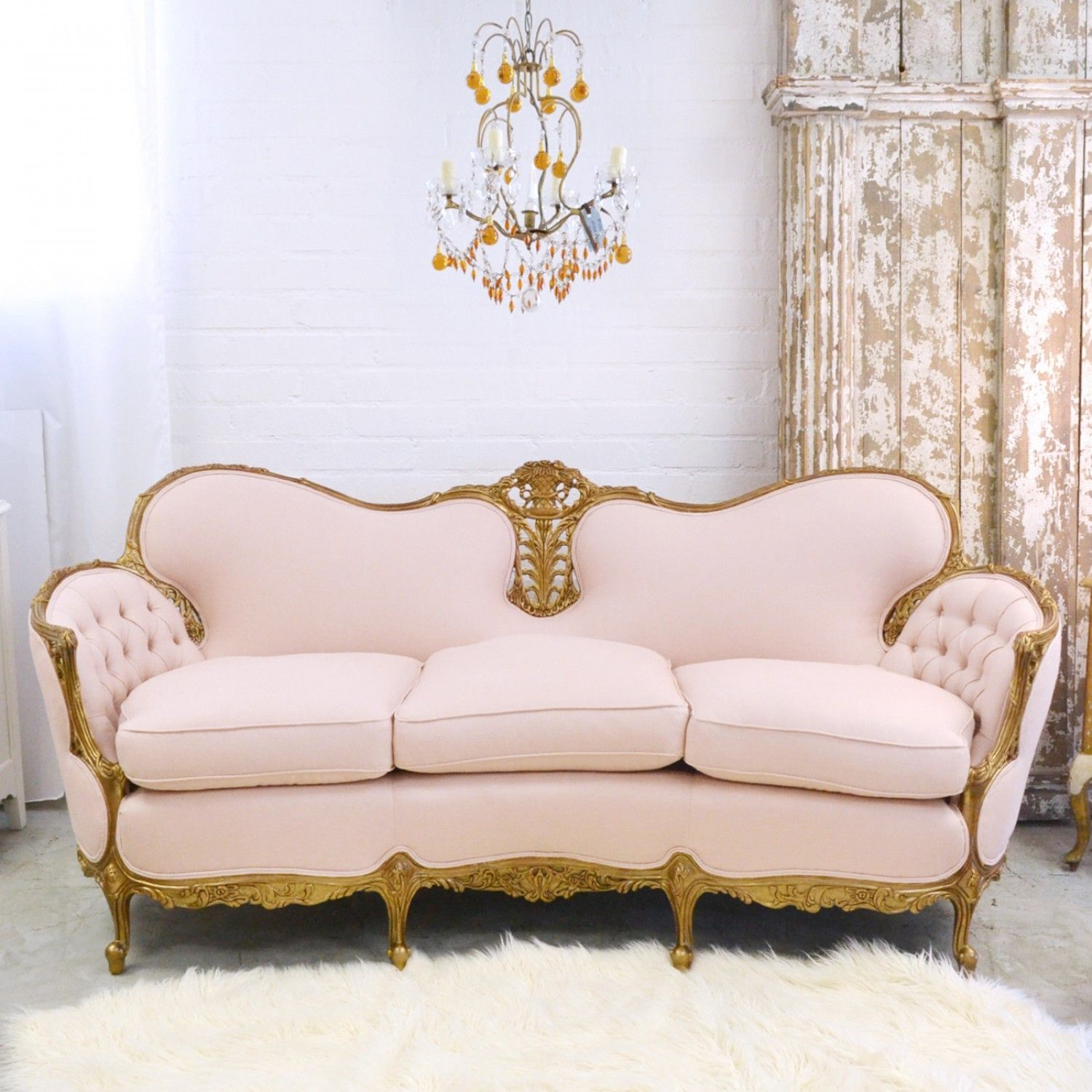 Fancy Pink Linen Tufted Settee Shabby Chic Cottage Vintage Sofa Carved Sofa
