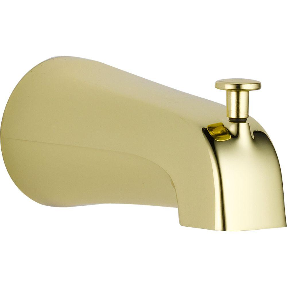 Delta Pull Up Diverter Tub Spout In Polished Brass Delta Faucets