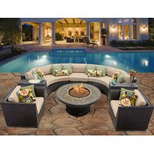 Barbados 8 Piece Fire Pit Seating Group with Cushion