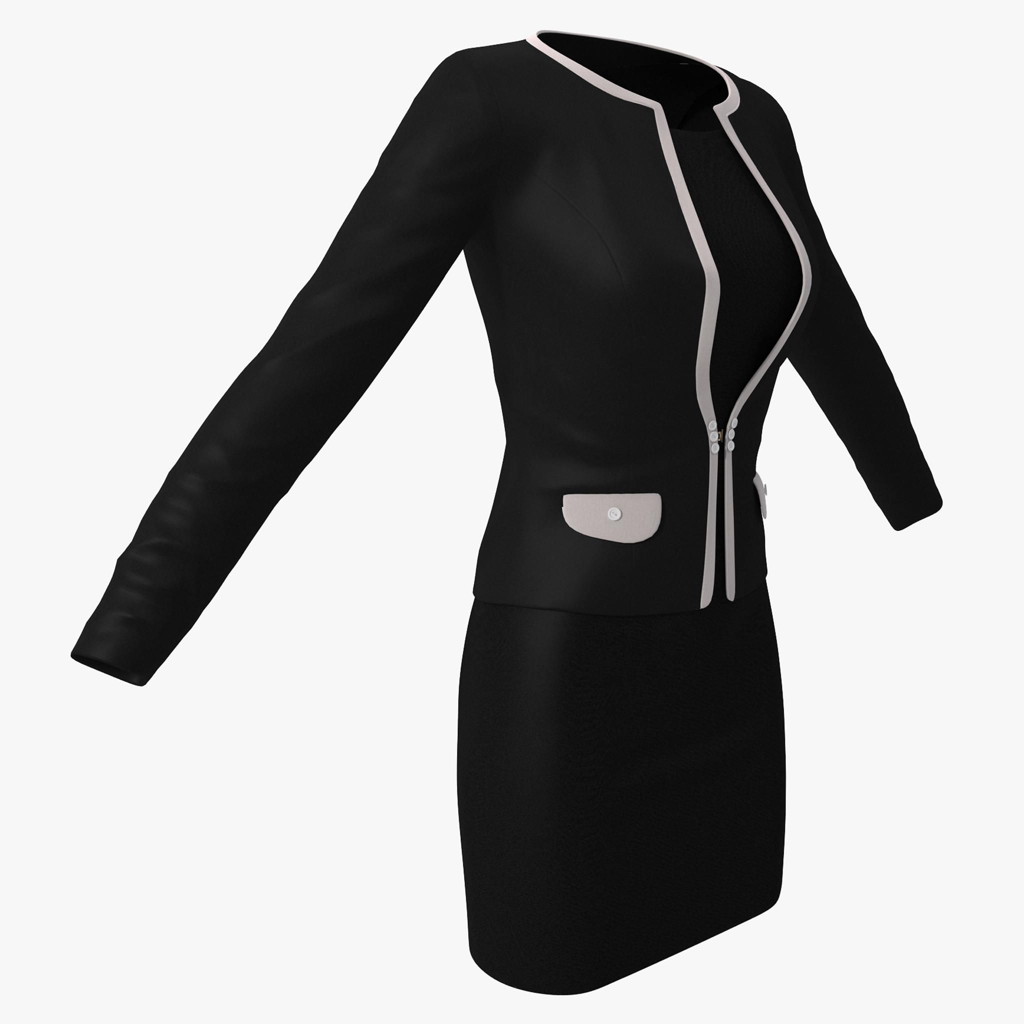 black womens office suit 3d model  ad   womens black