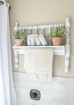 Diy Towel Bar From Vintage Bed Frame Vintage Bed Frame Farmhouse Style Bathroom Decor Bathroom Farmhouse Style