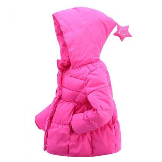 Cute Unisex Toddler Star Hooded Down Sweater/Jacket Warm Winter Outerwear Pink