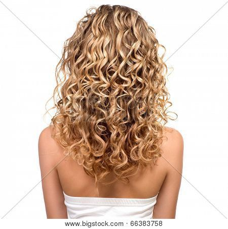 Beauty Girl With Blonde Curly Hair Healthy And Long Blond Wavy Permed