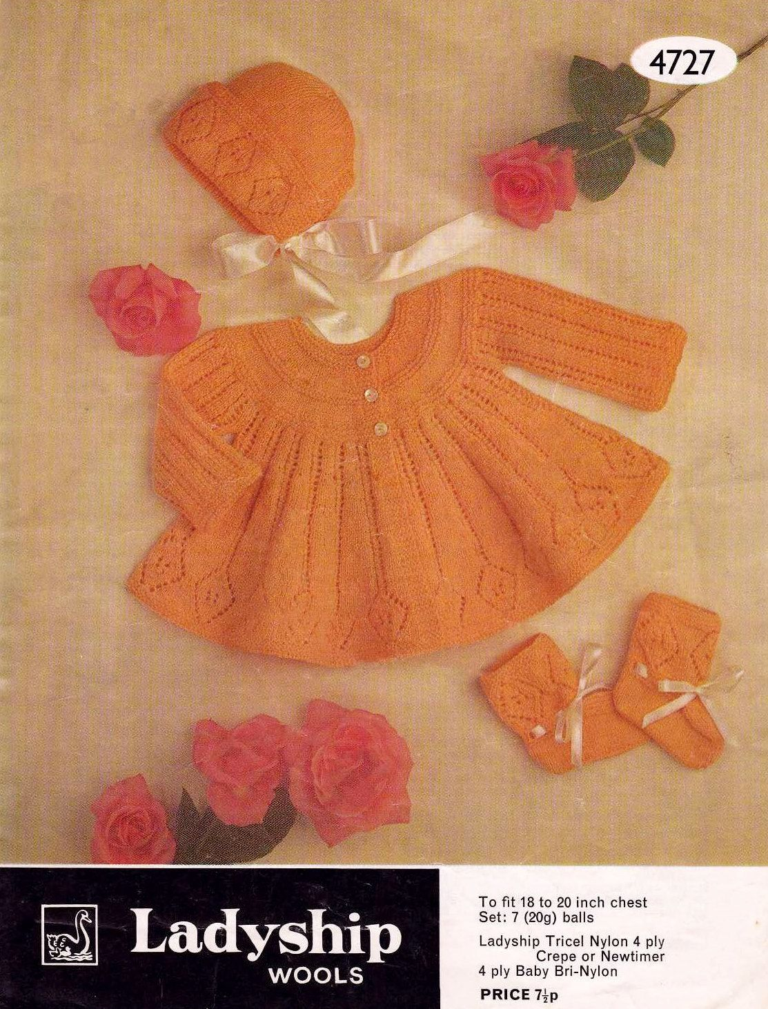 47ef7ff9c Baby Matinee Jacket Bonnet Bootees   Mitts in 4 by avintagescot ...