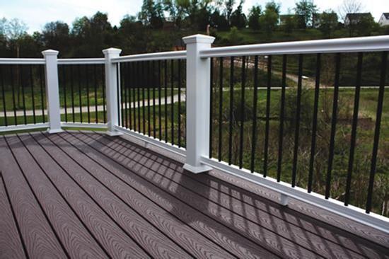Contour Vinyl Railing Kit W 36 Round Aluminum Balusters Vinyl Railing Outdoor Stair Railing Deck Railings