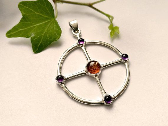 Sun cross pendant sterling silver amber and amethysts saulyja sun cross pendant sterling silver amber and amethysts aloadofball