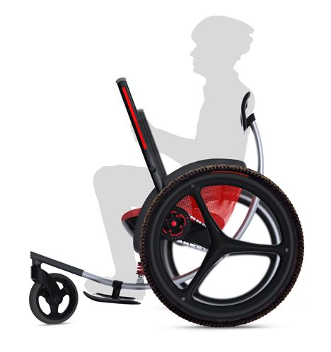 Leveraged Freedom Chair Sport by Amos Winter, Jake Childs and Jung Tak: The original LFC was developed to enable mobility for the disabled in developing countries. This upscale model focuses on lightweight performance.