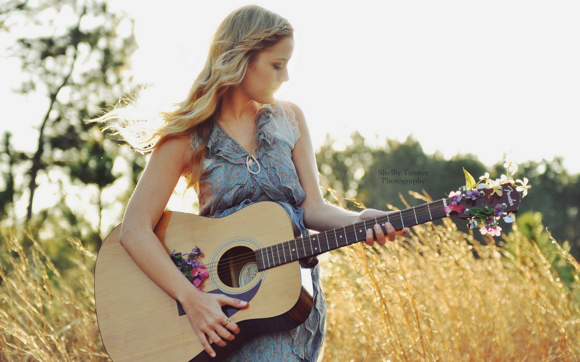 blonde girl guitar nature flowers summer dress hd wallpaper cool