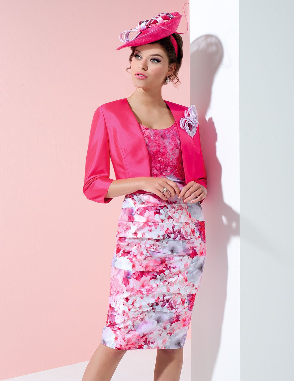 Ispirato floral pleated print dress and jacket with 3/4 length ...