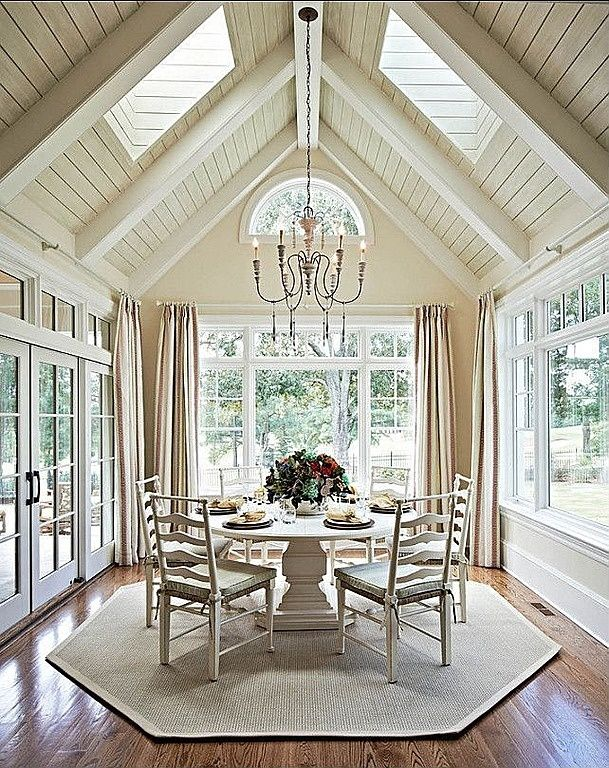 You Are Surrounded By Light In This Dining Room Carolina Design Associates I Love The Painted Wood Vaulted Ceiling With Skylights And French Doors