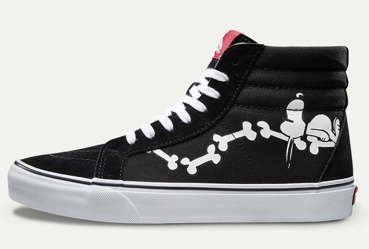 f3697bf3aa4ba4 Vans x Peanuts Snoopy Bones Black SK8 Hi Reissue Skate Shoes For Sale  Vans
