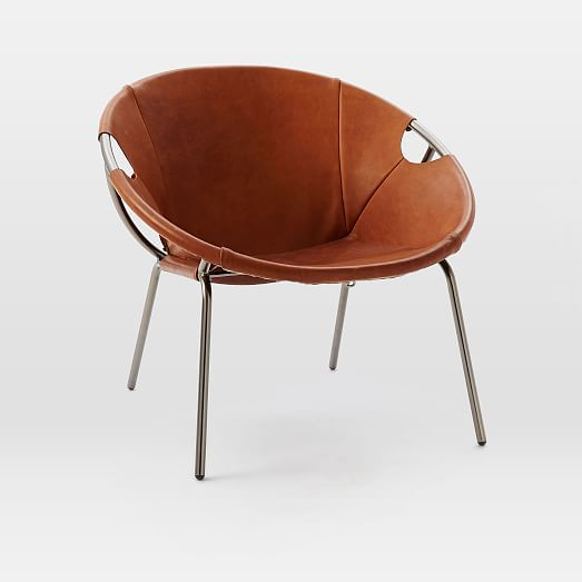 the leather we used for our dries leather sling chair is wrapped around a circular metal frame creating a deep comfortable seat