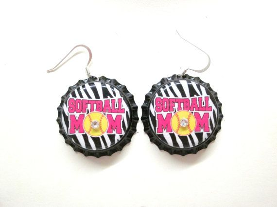 Softball Mom Bottlecap Silver Dangle Earrings by sydni1999 on Etsy, $6.50