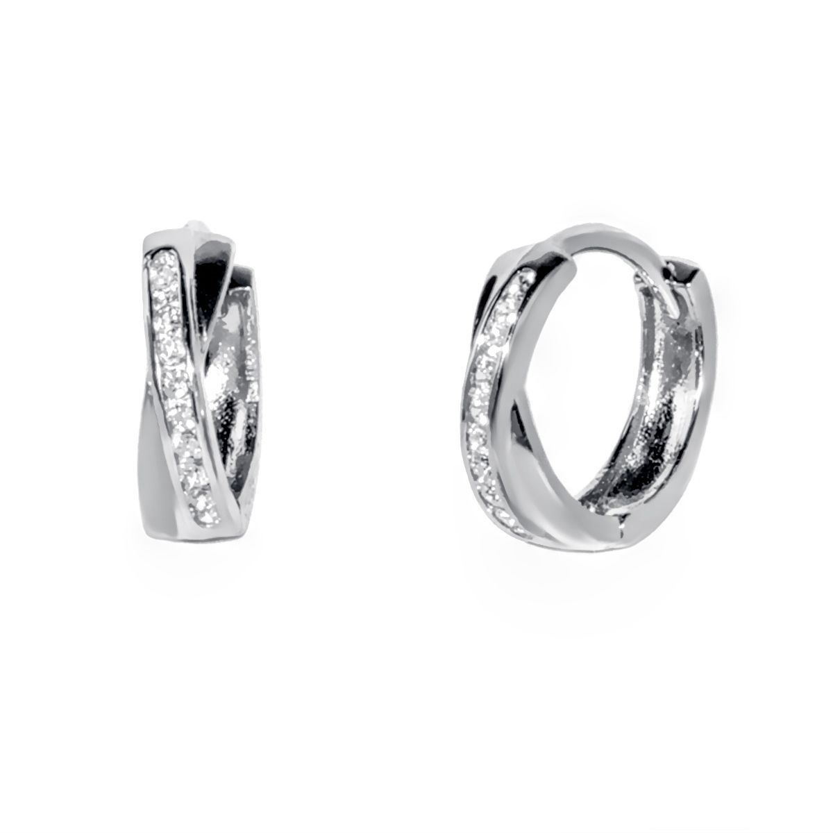 2ee940da1692f8 Pori 18K Gold plated or Rhodium Plated Sterling Silver Two-tone CZ Criss  Cross Huggie Earrings (