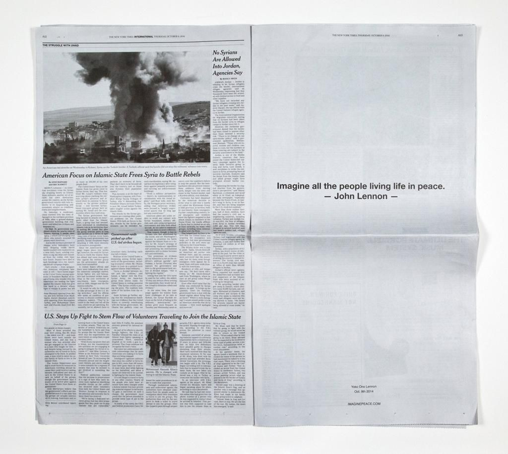 "THE NEW YORK TIMES (October 9, 2014) ""Imagine all the"