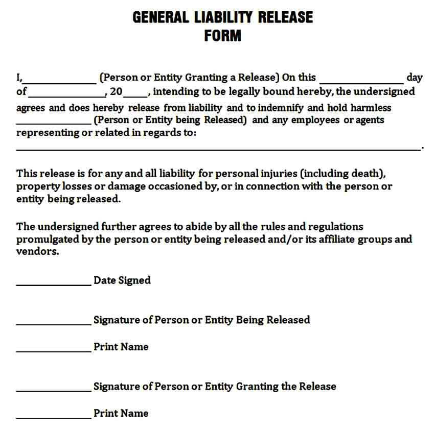 Simple General Release Of Liability Form In 2020 Liability Waiver Liability General Liability