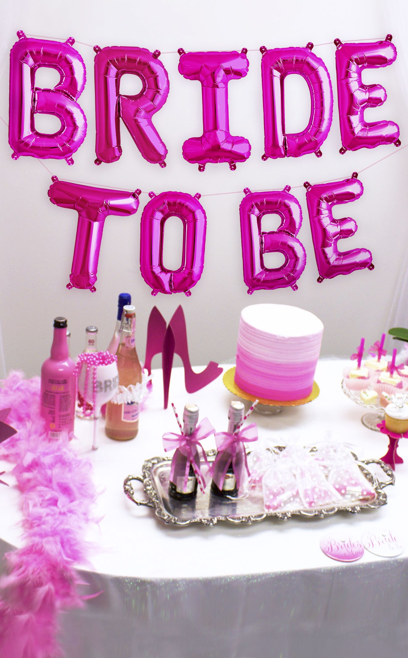 dd18c9b7216 Bachelorette Party Ideas - Hang these cute Bride to be balloons in hot pink  to celebrate the Bride available at The House of Bachelorette!