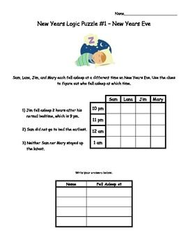 New Year Logic Puzzles Critical Thinking Activity Math Logic Puzzles Critical Thinking Activities Logic Puzzles