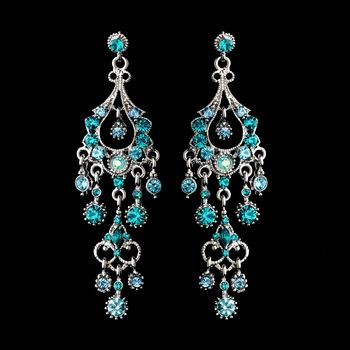 Teal crystal prom earrings teal turquoise and aqua perfect for silver teal formal chandelier earrings for weddings quinceanera and prom mozeypictures Images