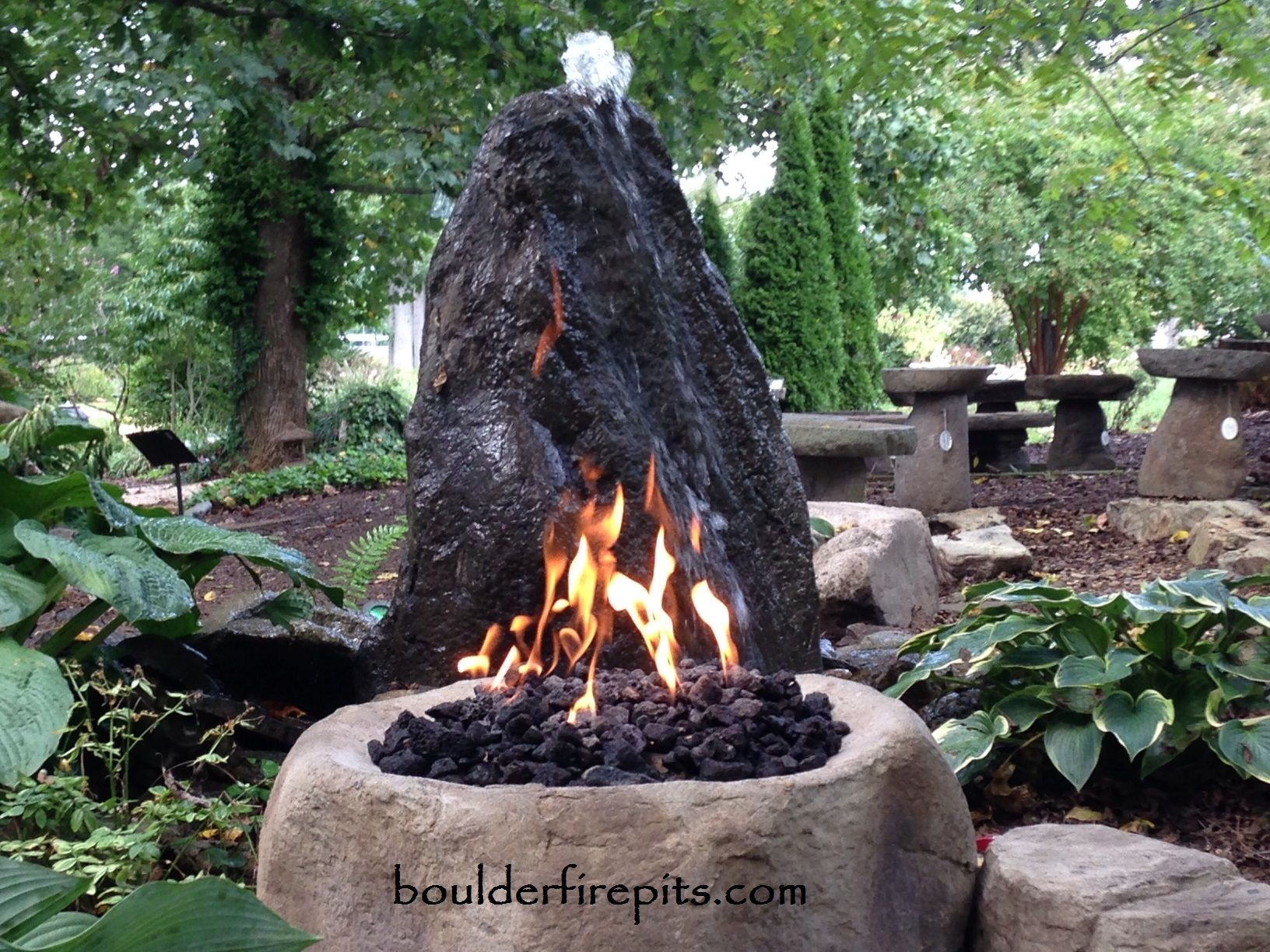 Boulder Fire Pit With The Celtic Rock Fountain For More Info Videos And Pricing Visit Us At Www Boulde Fire Pit Landscaping Backyard Fire Outside Fire Pits