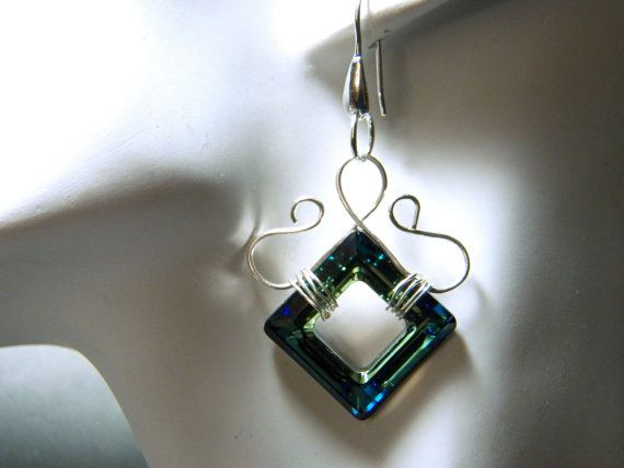 Bermuda Blue Swarovski Crystal and Silver Dangle Earrings with Fish Hooks