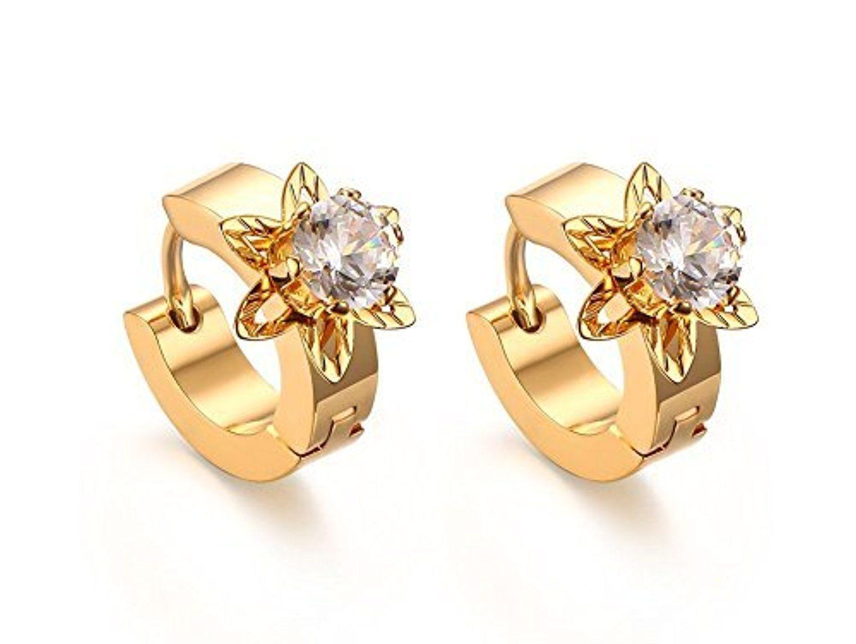 Vnox Womens Girls Stainless Steel CZ Diamond Flower Shape Small ...