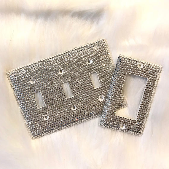 Bling Light Switch Plate Set Crystal Home Decor Glam Bedroom Princess Room Accessories
