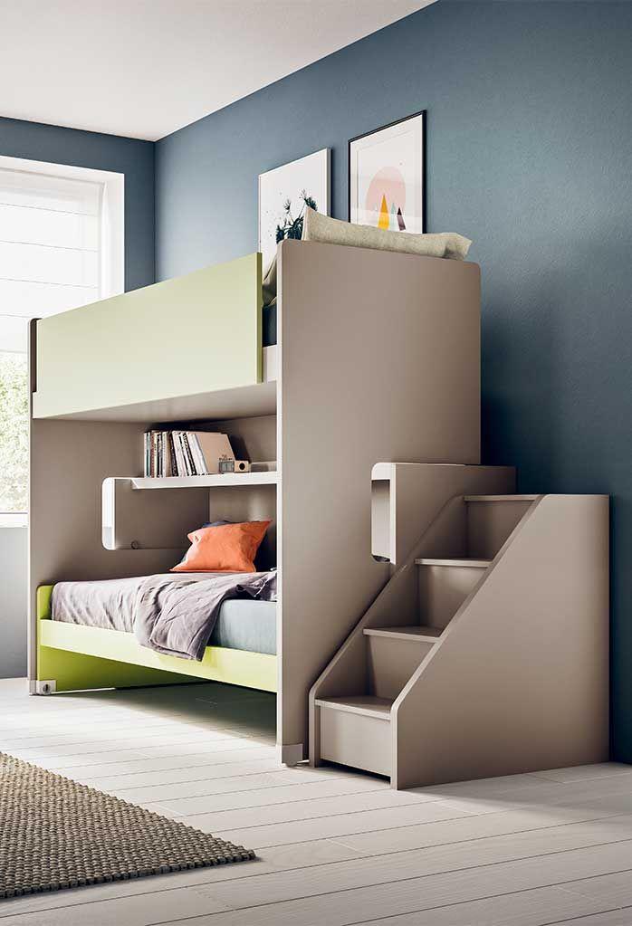 Letto a castello scorrevole con scala laterale | Kid bedroom ideas ...