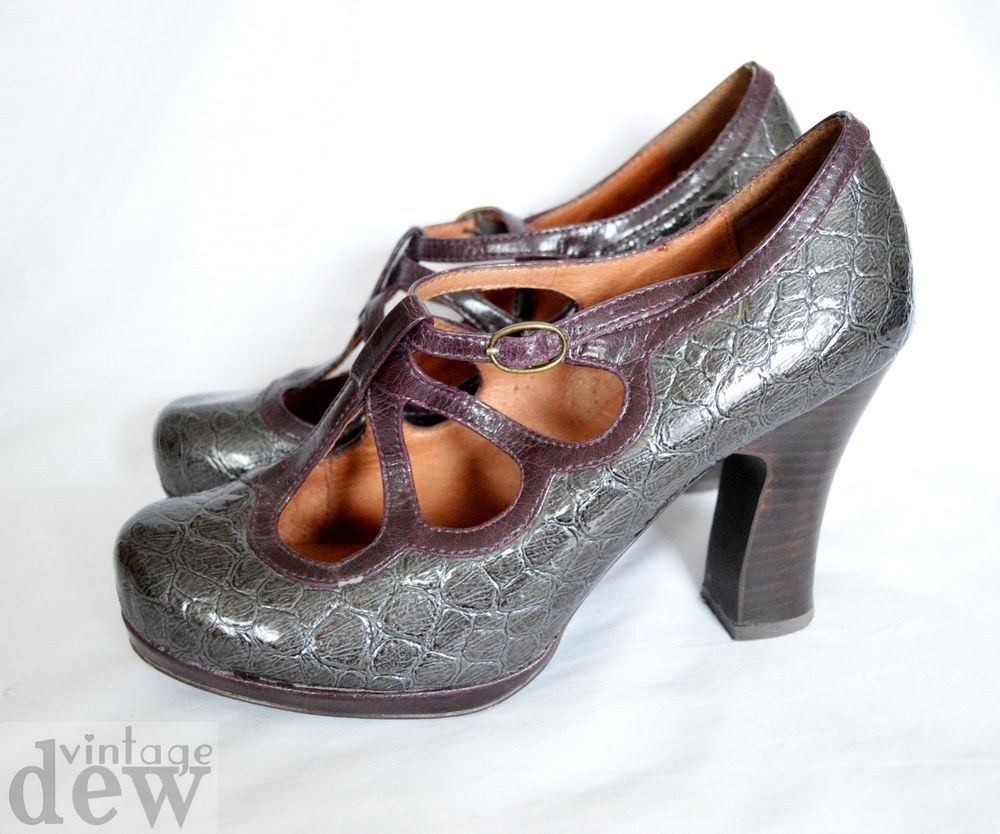OFFICE grey crocodile PURPLE heels 1930 S 40 S pin up BURLESQUE TEAR DROP 8 41