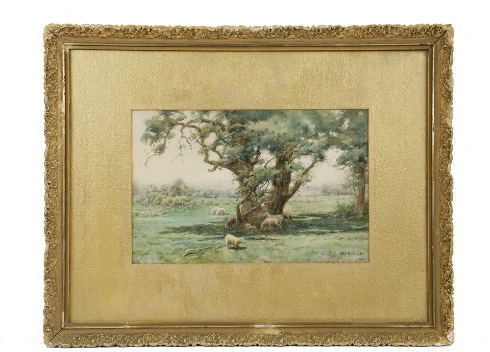 David Clark 19th 20th C American Under The Great Oak Watercolor On Paper Signed Lower Right And Dated 1900 In Original Gi Fine Art Watercolor Masterpiece