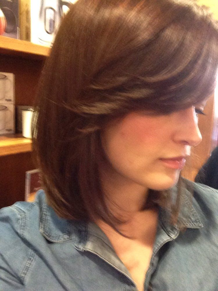 Stem Salon A Long Bob Haircut With Side Bangs By Michelle