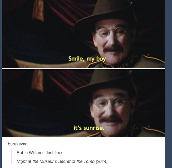 This Just Killed Me Inside Just A Little Bit Robin Williams Night At The Museum Robin Williams Quotes