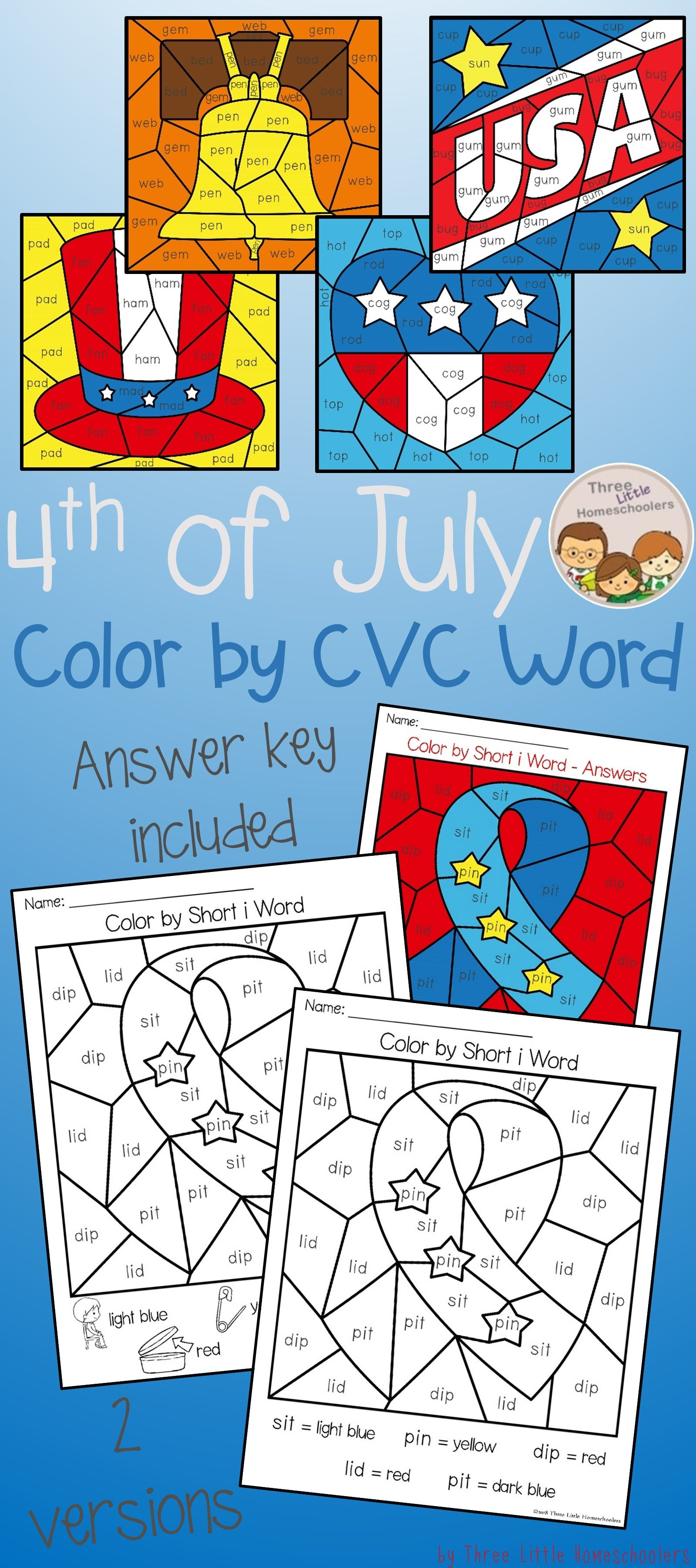 Fourth Of July Color By Cvc Word