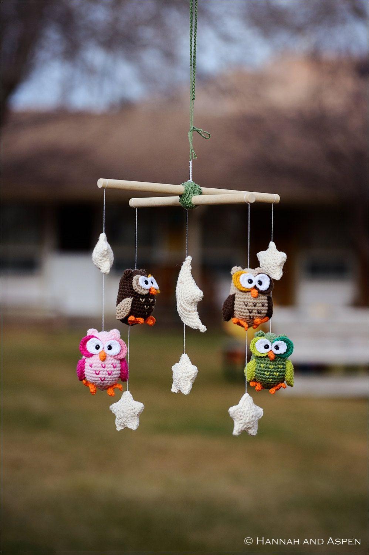 Night Owl Crochet Mobile Nursery Mobile Crochet Owl Mobile