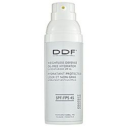 DDF Weightless Defense UV Moisturizer SPF 45.  A must have!  Everyone should wear a good sunblock and I love this one because it doesn't feel heavy or burn like some sunblocks do.