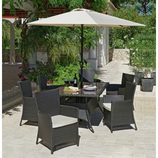 buy bali 6 seater rattan effect patio furniture set brown at argosco