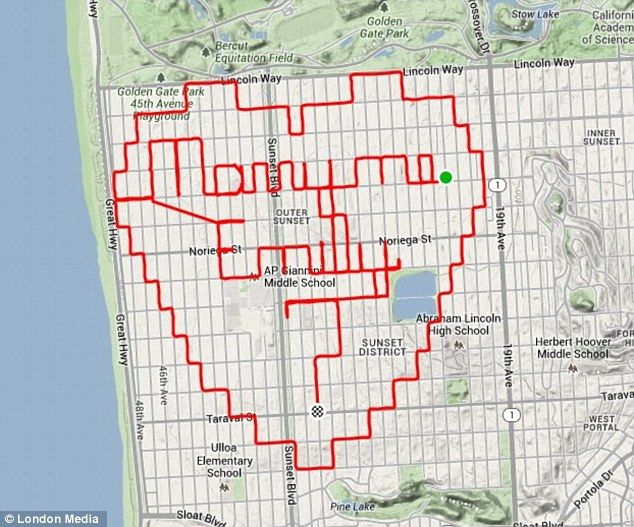 San Francisco cyclist uses GPS app to map out wedding
