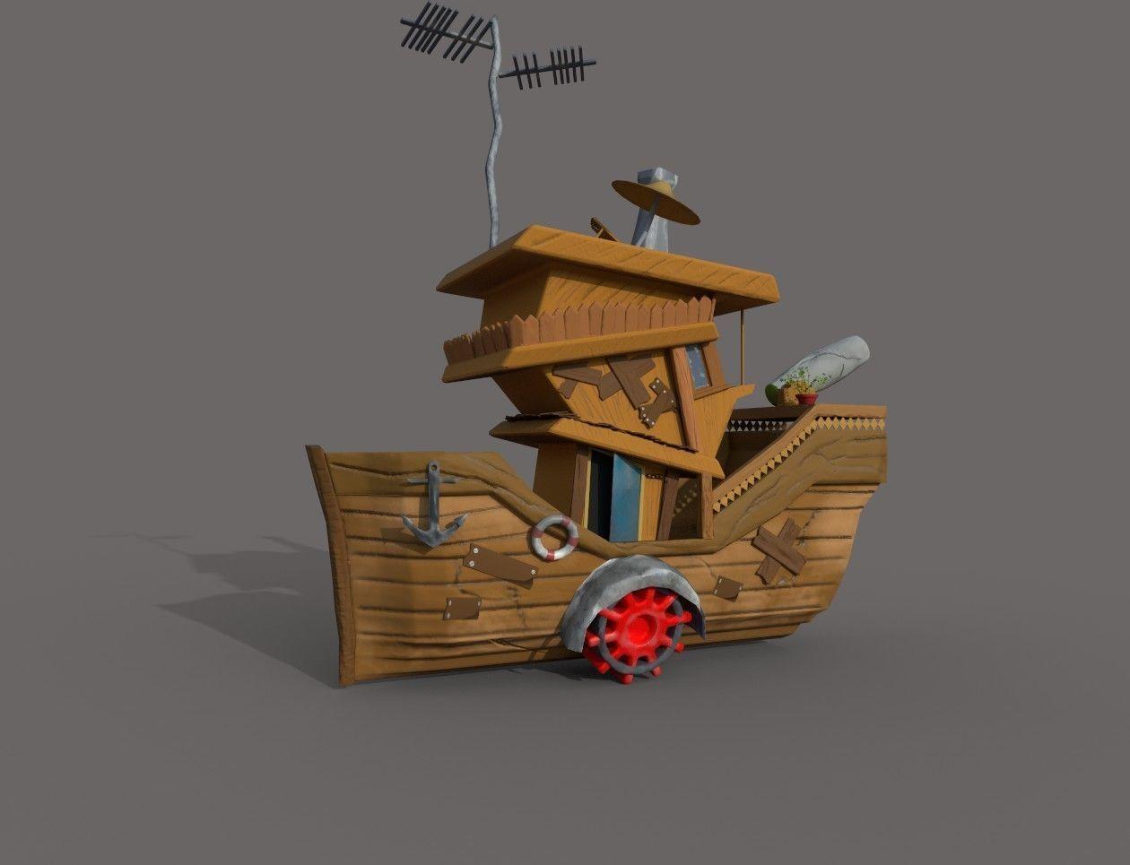free stylized boat 3d model lowpoly obj mtl c4d ma mb 1