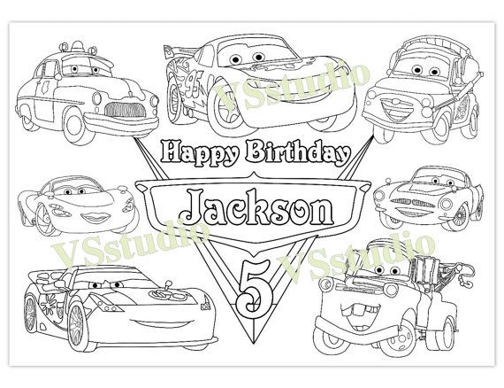 Cars Coloring Pages Cars Birthday Party Favor Pdf File Cars Birthday Parties Disney Cars Birthday Cars Birthday Party Disney