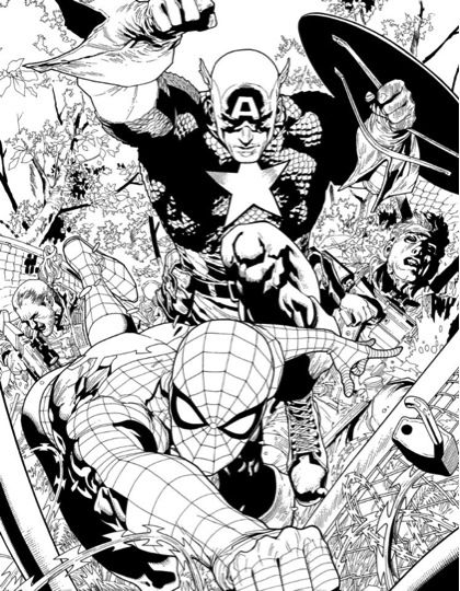 Captain America and Spider-Man by Leinil Francis Yu - coming at you!!