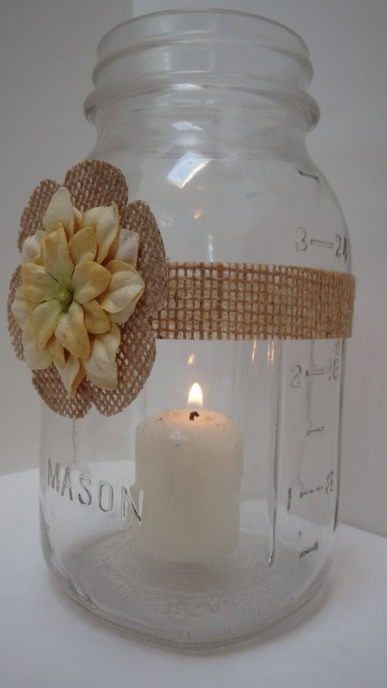 Yellow marigold gold mason jar candle centerpiece
