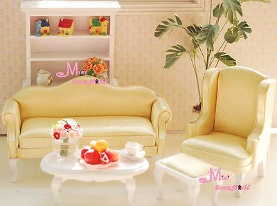 1 12 Dollhouse Miniature Furniture Small Queen Anne Living Room 4pc Yellow With Images Furniture Living Room Sofa Set Wooden Living Room