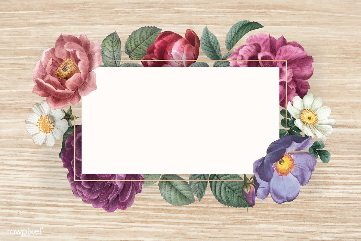 Download premium vector of Floral banner on a wooden background ...
