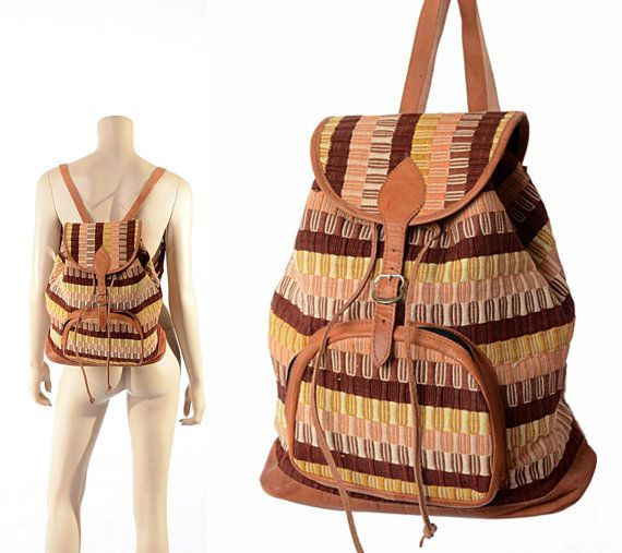 7e91c5bf960 Vintage Southwestern Cotton and Leather Backpack 70s 80s Geometric Woven  Hippie Boho Gypsy Rucksack Bag