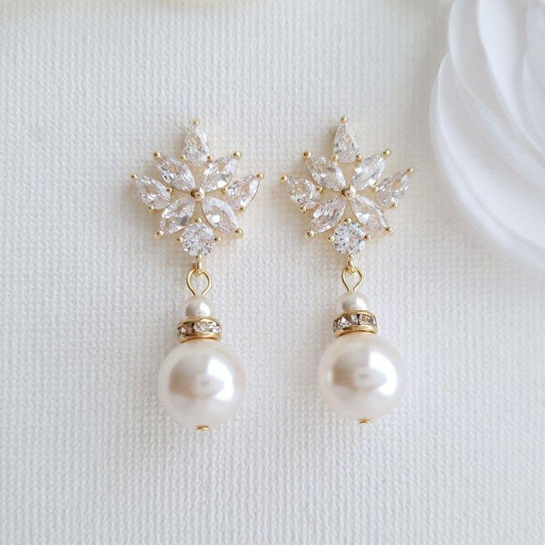 Rose Gold Braut Ohrringe Perle Tropfen Kristall Hochzeit