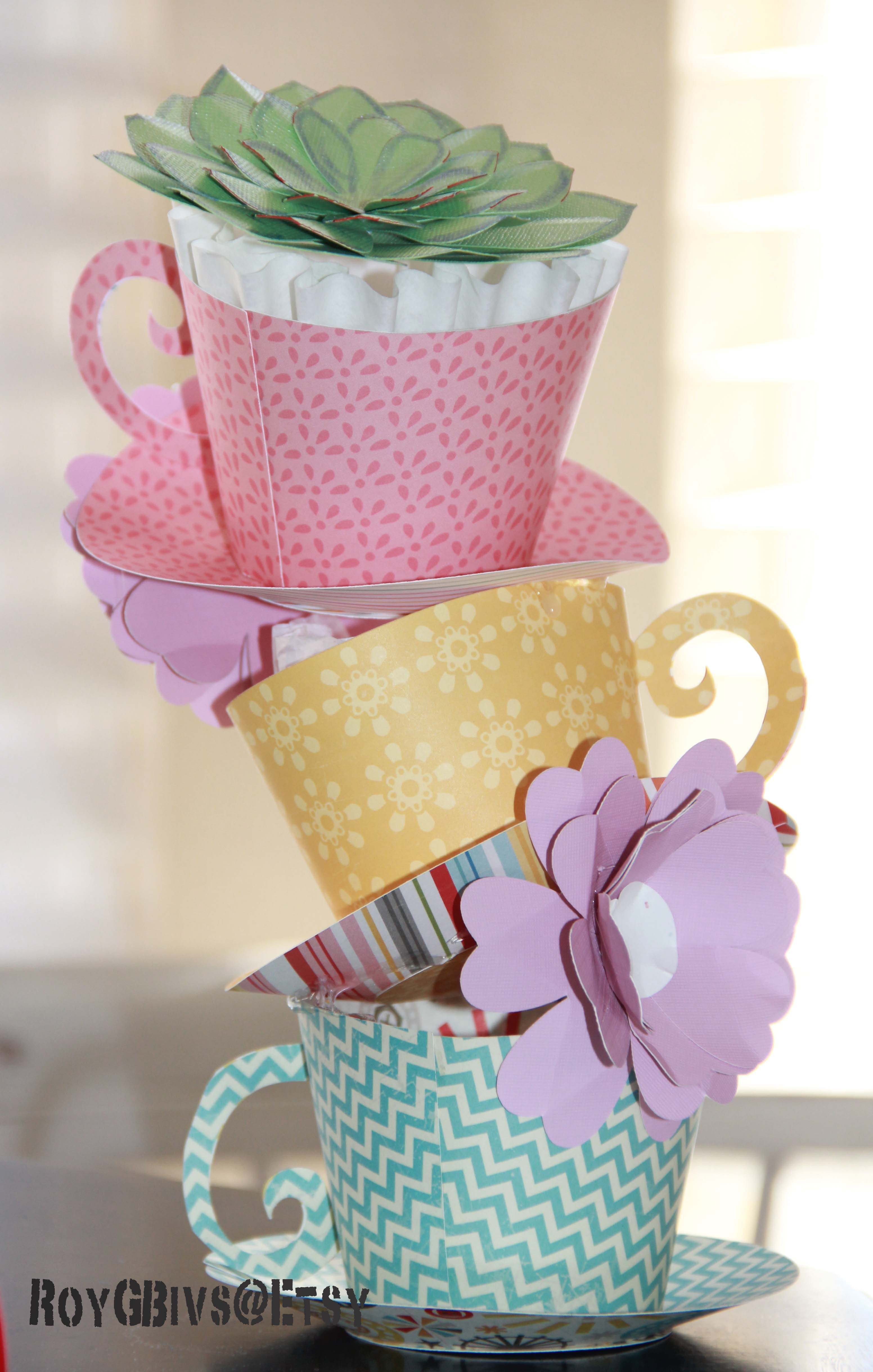 Stacked Paper Teacups Table Decorations Wonderland Party Decorations Tea Party Decorations Tea Party Table